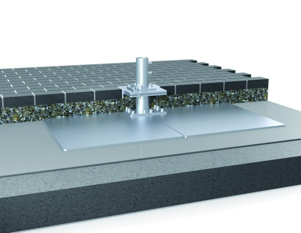 Standplatte mit Klappscharnier & Ankerhülse I Oberteil AH-150 für Schirme bis 21 m²