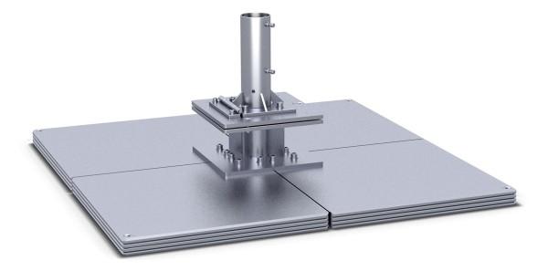 Standplatte mit Klappscharnier 4-lagig, 16 Stahlplatten stationäres Befestigungselement.